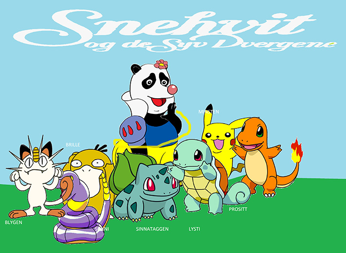 Snow Panda and the Seven Dwarfs. Bashful, Sleepy, Doc, Grumpy, Happy, Dopey and Sneezy i form av Pokemoner.